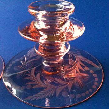 Pink Elegant Glass Candlestick - Glassware