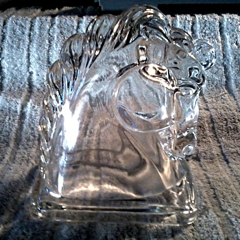 Federal Glass Company Trojan Horse Bookend / Hollow Clear Molded Glass/ Circa 1940  - Glassware