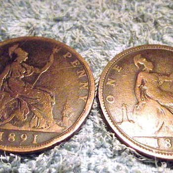 1877-91-2 victorin pennies - World Coins