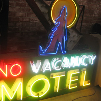 Vintage 1970's ( NO ) VACANCY MOTEL Large Antique Multi-colored Neon Sign