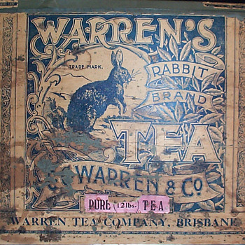 Warren's Rabbit Brand tea tin