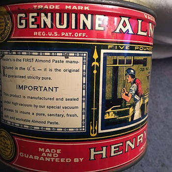Vintage Henry Heide Genuine Almond Paste Tin Can