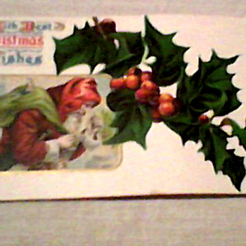 1910 1 CENT STAMP POSTCARD - Christmas