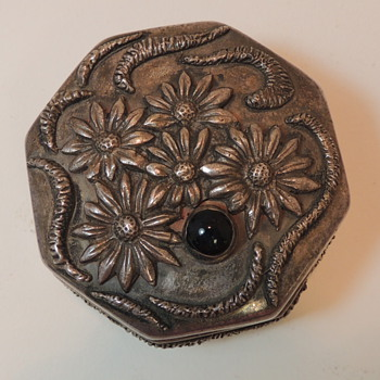 Sterling Silver w/ Stone - Octogonal Trinket Box - Sterling Silver
