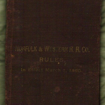 1890 Norfolk &amp; Western Rules Book - Railroadiana