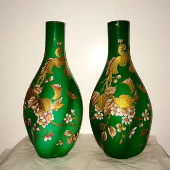 Harrach Enamelled Gilt Green Lobed Cased Pair Vases 17.25""