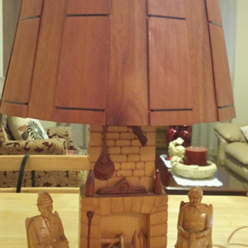Carved Wood 18 inch tall Lamp