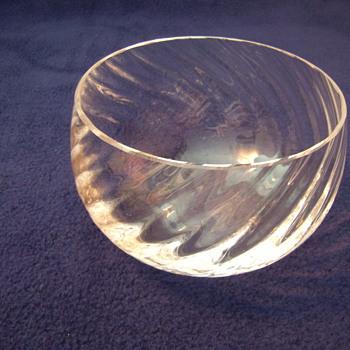 Hand Blown Crystal Rose Bowl Swirl Patter - Glassware