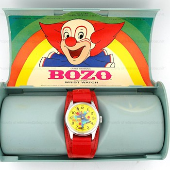 1970's Bradley BOZO THE CLOWN Animated Watch in Original Box - Wristwatches
