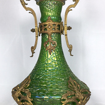 "Loetz ""Crete Chiné"" vase with gilt metal mounts. 12.5"" tall. Circa 1897."