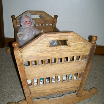 Antique Doll Cradle ,Homemade of Oak 1880-1910