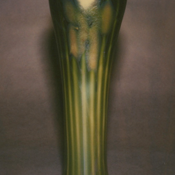 QUEZAL DECORATED ART GLASS VASE, circa 1905