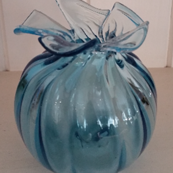 Hand blown Blue Glass bud vase