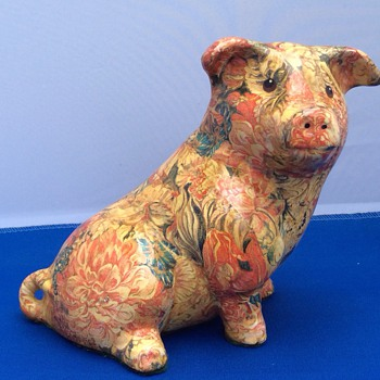 Large antique ceramic pig - Animals