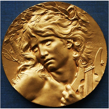 "1900 Paris Exhibition ""Orpheus at the Entrance to the Underworld"" Medal - Art Nouveau"