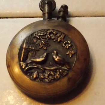 Antique Brass Cigarette Lighter Japan America Lady Washington voyage? - Tobacciana