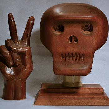 Mahogany skull - Folk Art