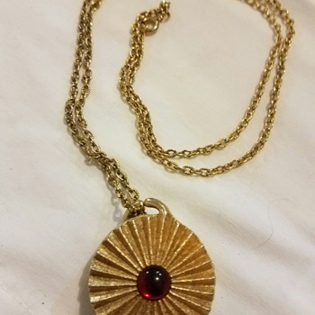 Vintage Red and Gold Tone Pendant Necklace stamped Houbigant (perfume name)