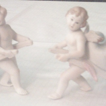 Vintage porcelain Cherub Vases - Art Pottery