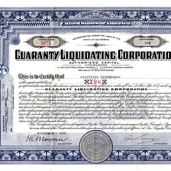 Guaranty Liquidating Corporation Preferred 1932 Stock ( is it of any value still) - US Paper Money