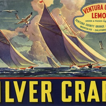 One off Ventura County vintage lemon crate label Silver Craft sailing - Advertising