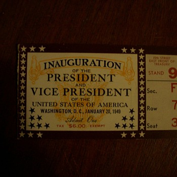 harry s truman inagural tickets - Paper