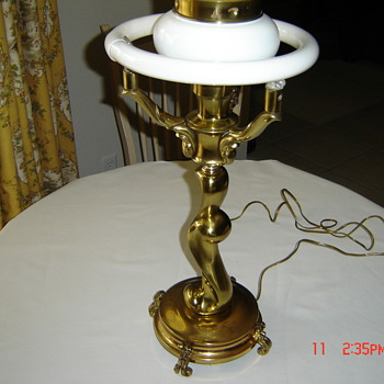 Colonial Premier Art Deco Modern; Orig. Chrome, recast in Bronze - Lamps