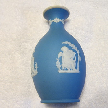 1886 - Wedgwood Blue Jasper Dip Bud Vase &#039;Poor Maria&#039;