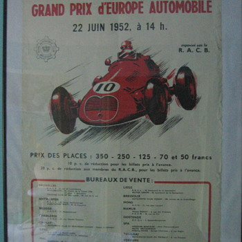 1952 Belgian Grand Prix Race Poster - Posters and Prints