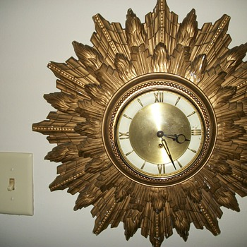 Mid Century Sunburst Clock - Clocks