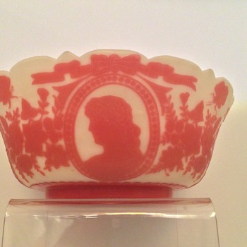 "Large Mt. Washington Pink Cameo Bowl 10"" - Art Glass"