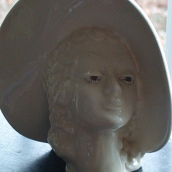 Vintage Head Vase Lady With Hat Mid-Century - Art Pottery