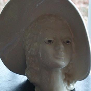 Vintage Head Vase Lady With Hat Mid-Century - Pottery