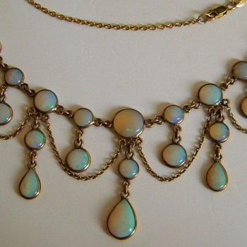 Antique Victorian Crystal Opal Festoon Necklace 9ct England - Fine Jewelry