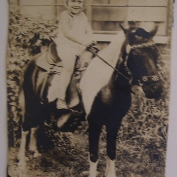 LITTLE SWEETIE AND HER PONY--NO BOOTS -BUT A NICE SADDLE, 1930s - Photographs