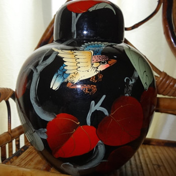 Large hand painted ginger jar