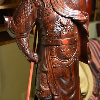 Very Large, Intricately Carved, Rosewood Statue of a Samurai[?]
