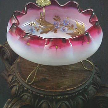 Bohemian Victorian Cranberry Opalescent Enamel Art Glass Bowl w Stand - Art Glass