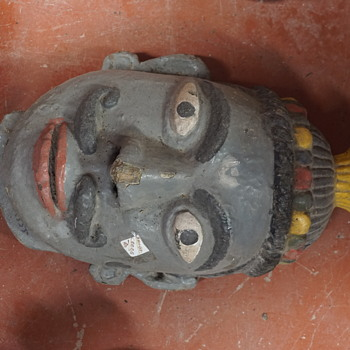 Antique Indian wooden tribal mask - Visual Art