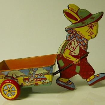Yard Sales Find 10 of 10,  Tin Toy, Eastern Rabbit with Trailer, Circa before 1965