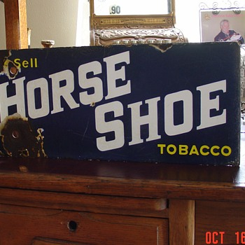 Early 1900&#039;s Horse Shoe Tobacco Double Sided Porcelain Flange Sign - Signs