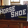 Early 1900's Horse Shoe Tobacco Double Sided Porcelain Flange Sign