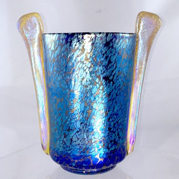 Loetz Cobalt Papillon Vase W/Siliberiris Paddle Handle, Series III, Ca 1935