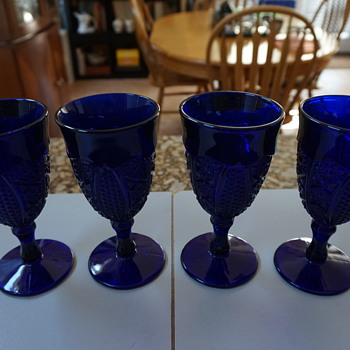 Vintage Blue Wine Glasses