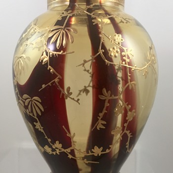 Harrach enameled vase, pale yellow with oxblood stripes, ca. 1890