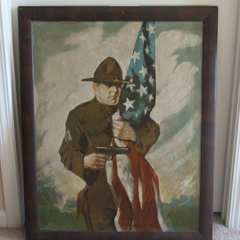 Large WW1 Patriotic Painting oil on canvas - Military and Wartime
