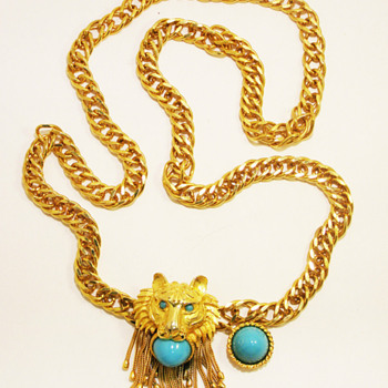Vintage Pauline Rader Tiger Chain Belt with Turquoise Stones - Accessories