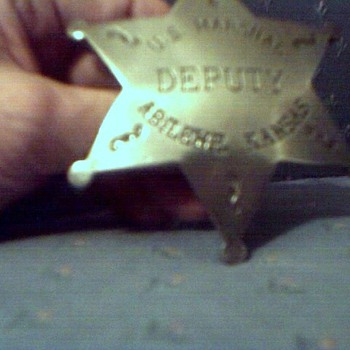 Antique/Vintage (very old, no remake) US MARSHAL DEPUTY, ABILENE KANSAS 6 star badge. - Medals Pins and Badges