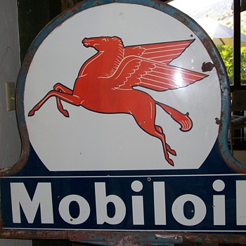 Mobil Pegasus Collectible Sign (two-sided porcelain with stand) - Advertising