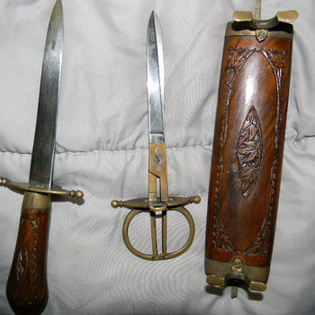 Very Old Letter Opener and Scissors -please call me for more pics, I have no idea what this is. And WW2 piece as well.